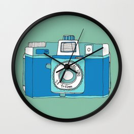 Holga Camera in Blue Wall Clock