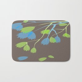 Leaves In Blue and Green Bath Mat