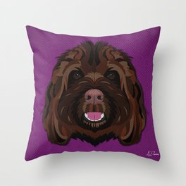 Icons of the Dog Park Labradoodle Design in Bold Colors for Pet Lovers Throw Pillow
