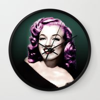 rockabilly Wall Clocks featuring Rockabilly Marilyn by Tamsin Lucie