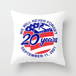 9-11 Memorial Patriot Day September 11 2001 20 Years Tribute Circle Retro Color Throw Pillow