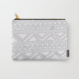 Chevron and triangle pattern white on grey drawing Carry-All Pouch