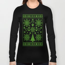 Christmas Cross Stitch Embroidery Sampler Green And White Long Sleeve T-shirt