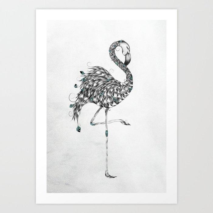 Poetic Flamingo Art Print