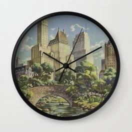 New York, United Airlines - Vintage Travel Poster Wall Clock