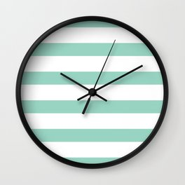 Mint and White Horizontal Stripes Wall Clock