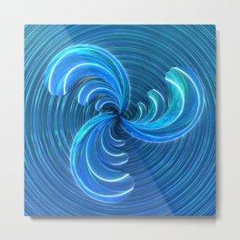Crystal Blue Glass Bow Metal Print