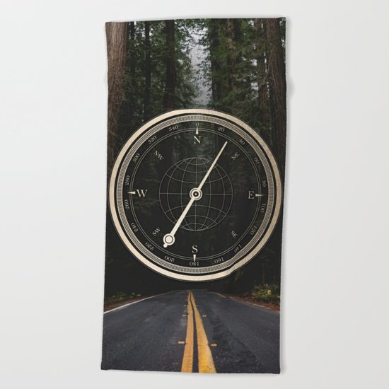 Gold Compass - The Road to Wisdom Beach Towel