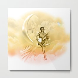 Wonderful fairy on a moon with dove Metal Print
