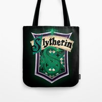 slytherin Tote Bags featuring Slytherin by Zeynep Aktaş