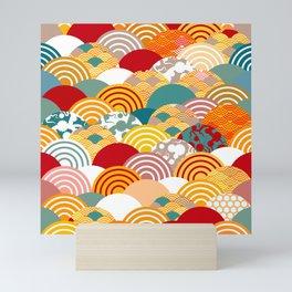 Nature background with japanese sakura flower, orange red pink Cherry, wave circle pattern Mini Art Print