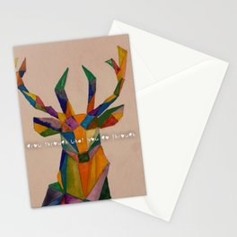 geometric deer using watercolor Stationery Cards