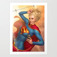 supergirl Art Prints featuring Supergirl by kody