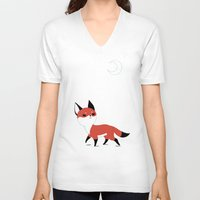 anime V-neck T-shirts featuring Moon Fox by Freeminds