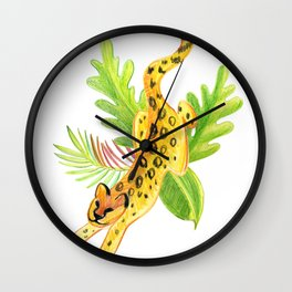 print leopard and tropical leaves Wall Clock