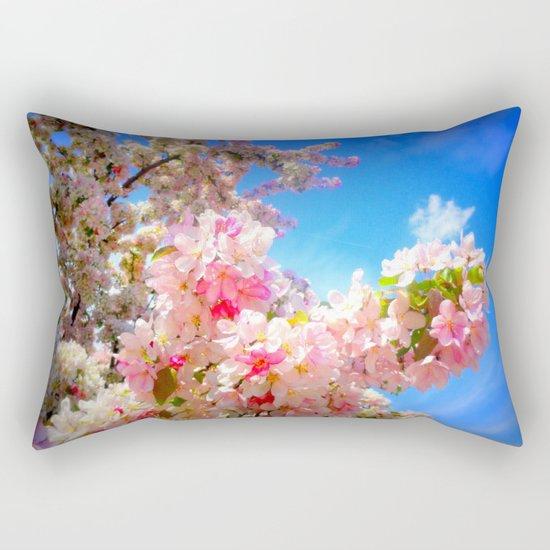 Pink Flowers Blue Sky Rectangular Pillow