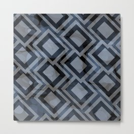Black and White Squares Pattern 08 Metal Print