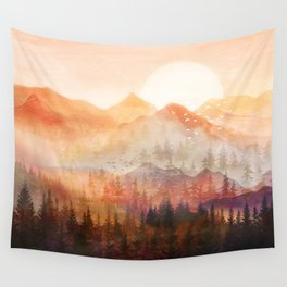 Forest Shrouded in Morning Mist Wall Tapestry