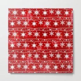 Openwork white snowflakes on red Metal Print