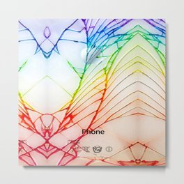 Rainbow Broken Damaged Cracked out back White iphone Metal Print