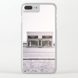 PradaMarfa - Black and White Version Clear iPhone Case