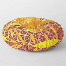 MODERN ART OF YELLOW SPRING IRIS GARDEN PATTERNS Floor Pillow