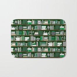 Book Case Pattern - Green and Grey Bath Mat