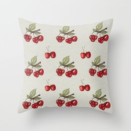 Cherry watercolor pattern Throw Pillow