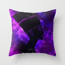Queen Nefertiti Nebula Dark Space Skyscape Throw Pillow