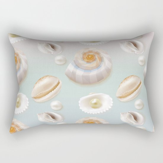 Seashell Seashells Pearls on pastel multicolor backdrop on #Society6 Rectangular Pillow