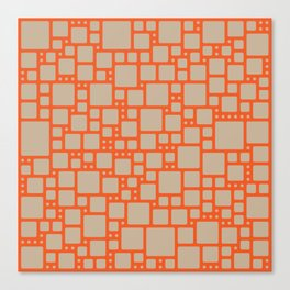 abstract cells pattern in orange and beige Canvas Print