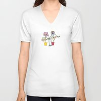 woodstock V-neck T-shirts featuring Woodstock Garden by Michele Baker