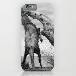 Wild Horses - Ocracoke Island, Hatteras, North Carolina black and white photograph / art photography iPhone Case