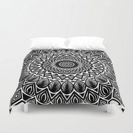 Detailed Black and White Mandala Duvet Cover
