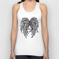 angel wings Tank Tops featuring Pink Galaxy Angel Wings by Mad Love