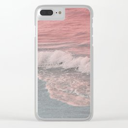 Pink Waves Beach Clear iPhone Case