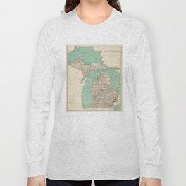Vintage Map of Michigan (1888) Long Sleeve T-shirt