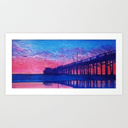 Fire Beyond the Pier Art Print