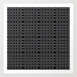 Black with White Stitching Tiled Pattern Art Print