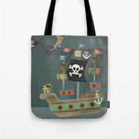 ships Tote Bags featuring ships ahoy  by Monkey Buttons