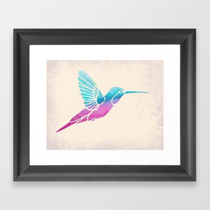 Watercolor Hummingbird Framed Art Print
