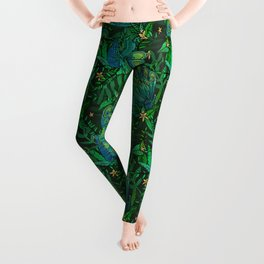Peacocks in Emerald Forest Leggings