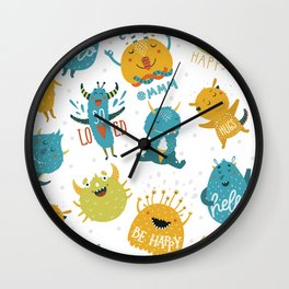 Cute little monster hand drawn illustration pattern Wall Clock