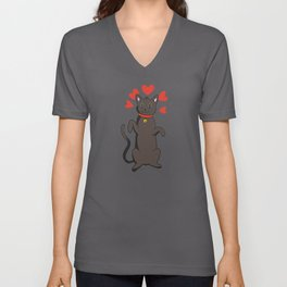 Black Cat Is Standing With A Heart Collar Unisex V-Neck