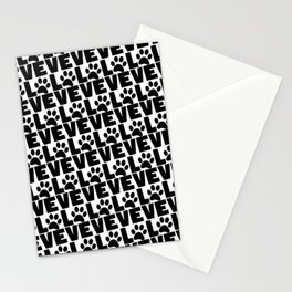 Dog Love - Black Dogs Paw on White Stationery Cards