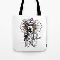 hippie Tote Bags featuring Hippie Elephant by  Steve Wade ( Swade)