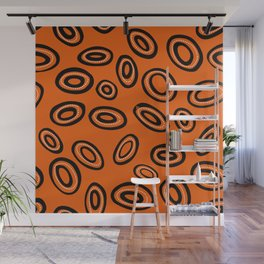 Le chat caché-Hiding cat- Orange donuts Wall Mural