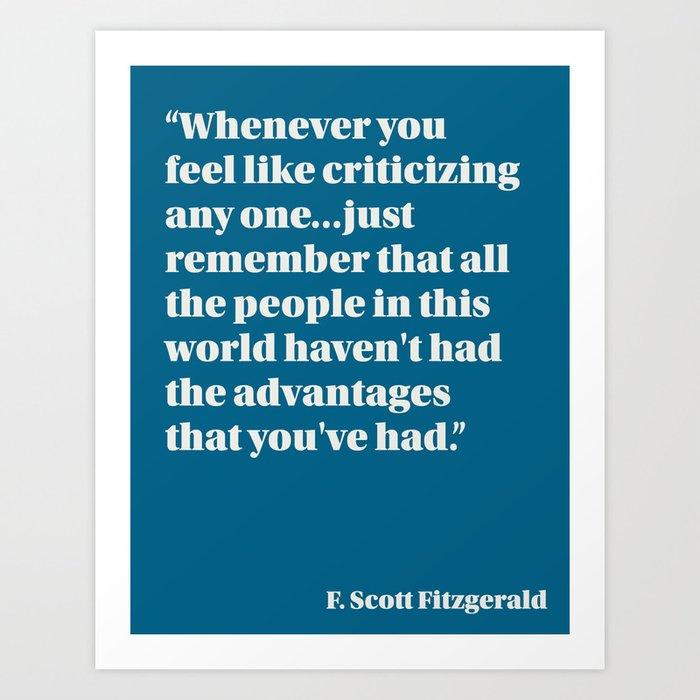 Fitzgerald on Privilege Art Print