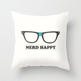 Nerd Happy Throw Pillow