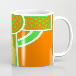 St Patrick's Day Celtic Cross Green and White Coffee Mug